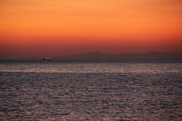 Sonnenuntergang Berge Meer