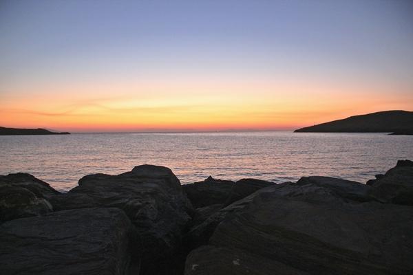 Sonnenuntergang Meer Steinküste