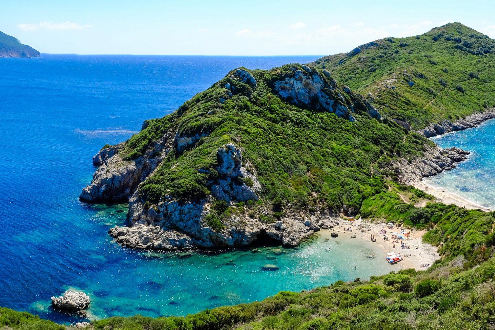 Korfu Berg Natur Wald Bucht Segelreisen
